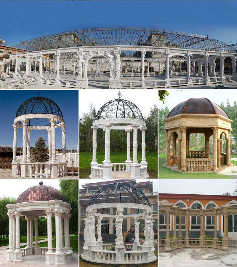 Garden Marble Gazebo with Carving Stone Statues Outdoor Design