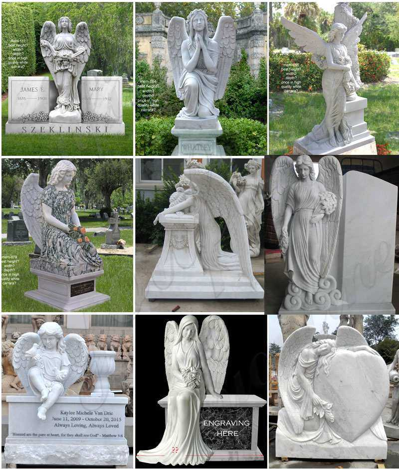 Granite Headstone with Wepping Angel Statue