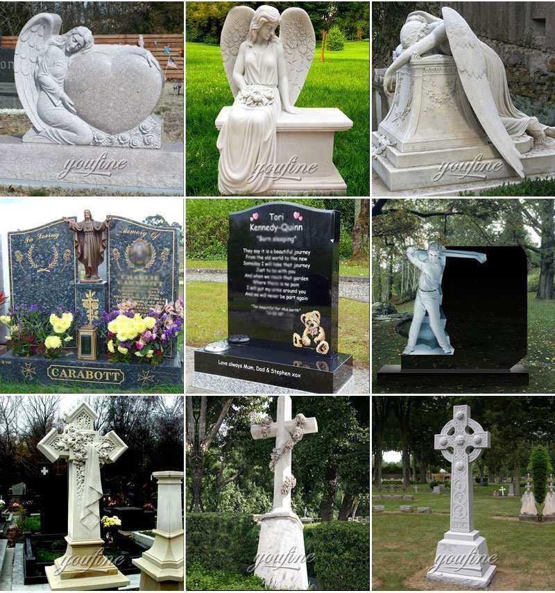 Granite Memorials Headstone Carving Wepping Angel Statue MOKK-415