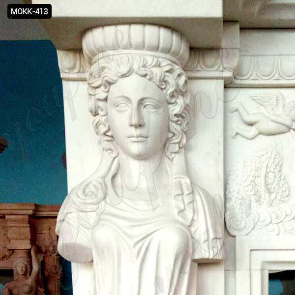 Hand Carved Modern Statury Marble Fireplace Mantel MOKK-413