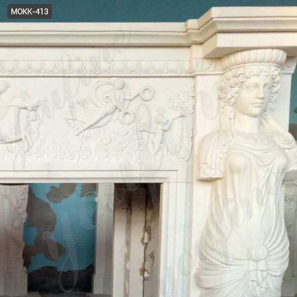 Hand Carved Modern Statury Marble Fireplace Mantel