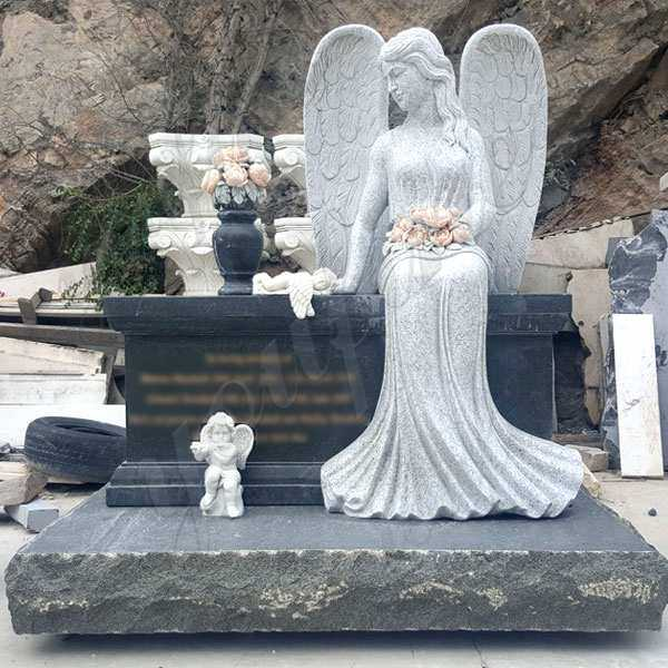 Hot Design Black Granite Headstone with Wepping Angel Statue MOKK-111