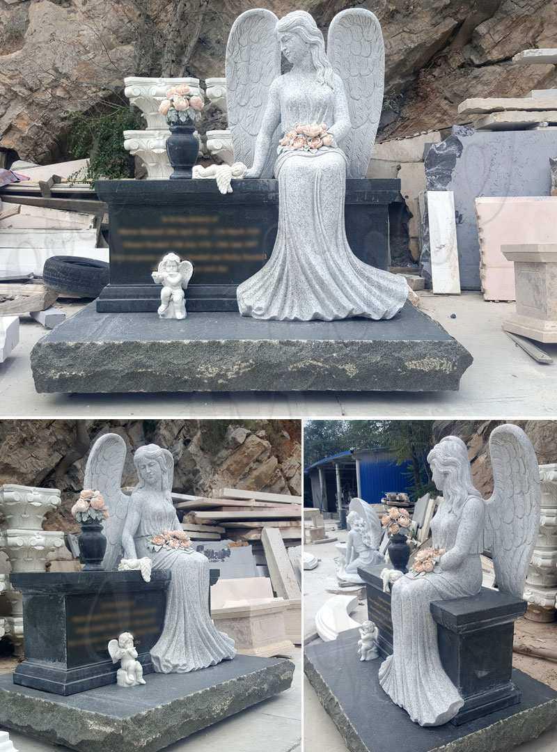 Hot Design Black Granite Headstone with Wepping Angel Statue