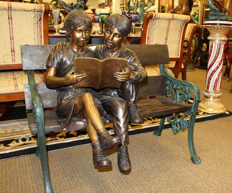 Kids Reading A book on Beach Bronze Statue for sale