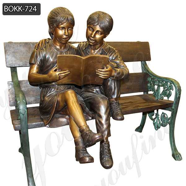 Kids Reading A book on Beach Bronze Statue