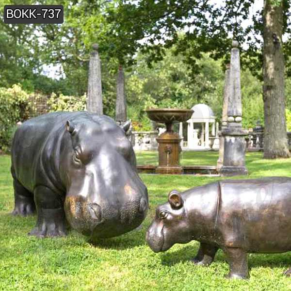 Large Casting Hippo Bronze Sculpture Wildlife Animal Statue for Sales