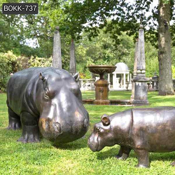 Large Casting Hippo Bronze Sculpture Wildlife Animal Statue for Sale BOKK-737