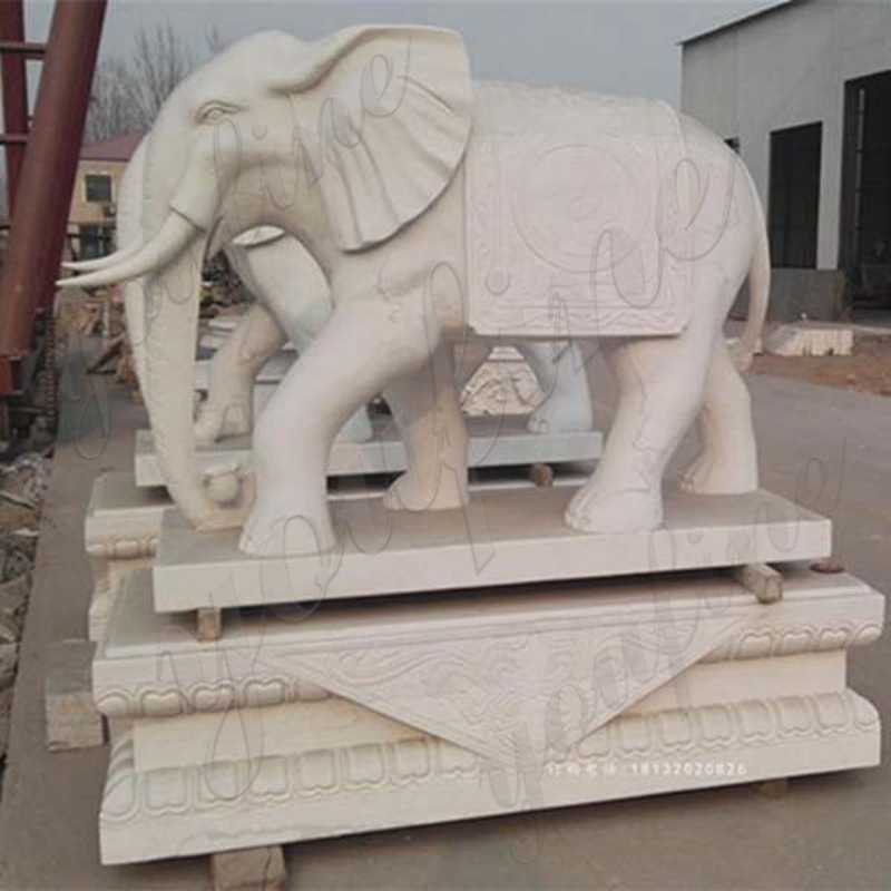 Large Hand Carved Marble Elephant Sculpture