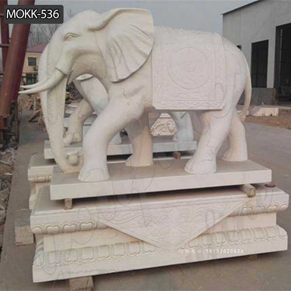 Large Hand Carved Marble Elephant Stone Sculpture