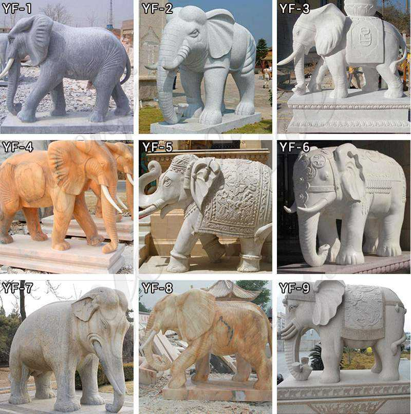 Large Size Marble Elephant Statue for Yard Decoration