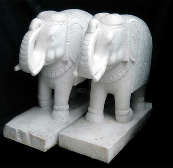 Life Size White Marble Elephant Statue for Sale