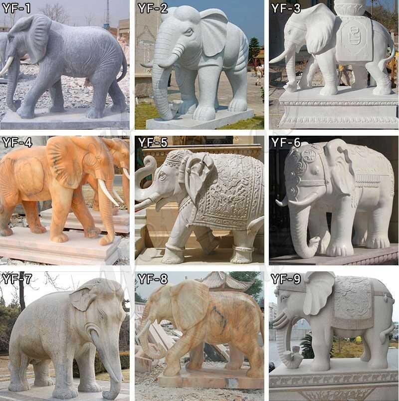 Marble Elephant Stone Sculpture MOKK-536