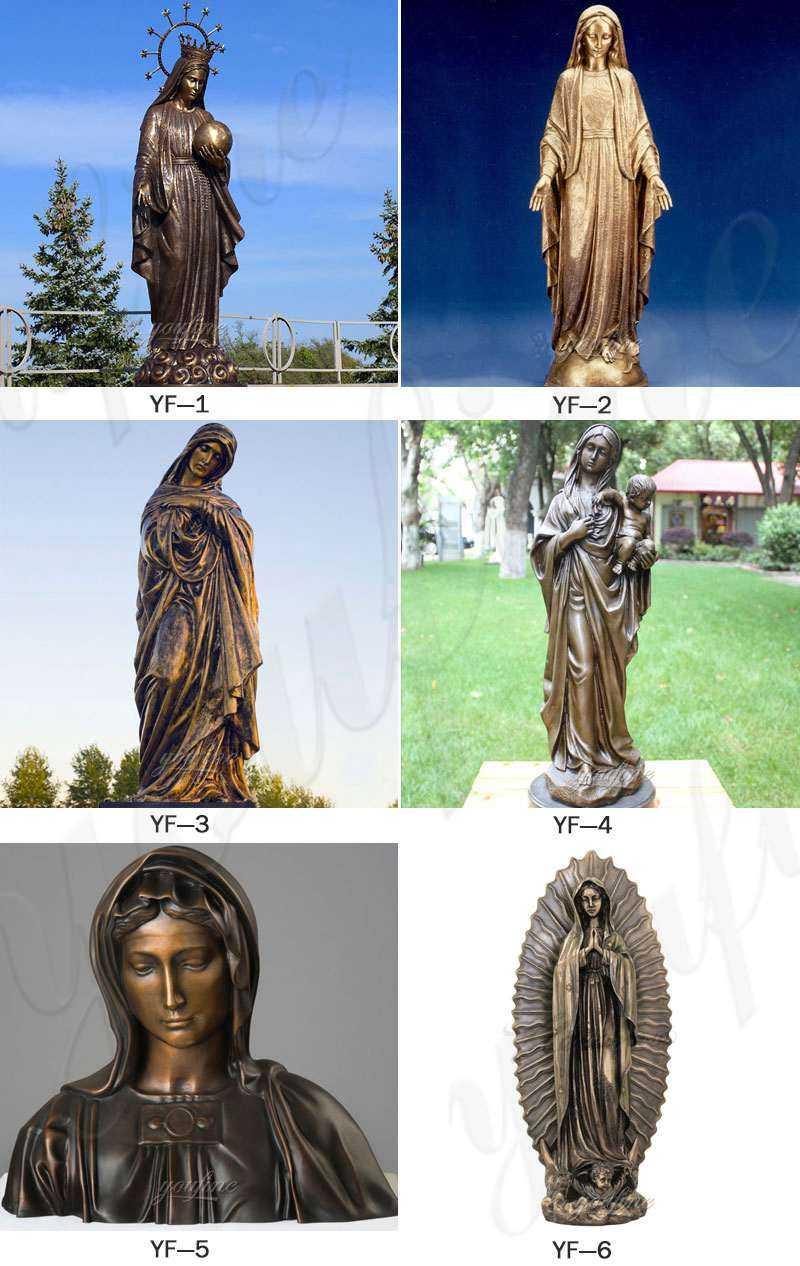 Mary and Jesus Bronze Religious Statue