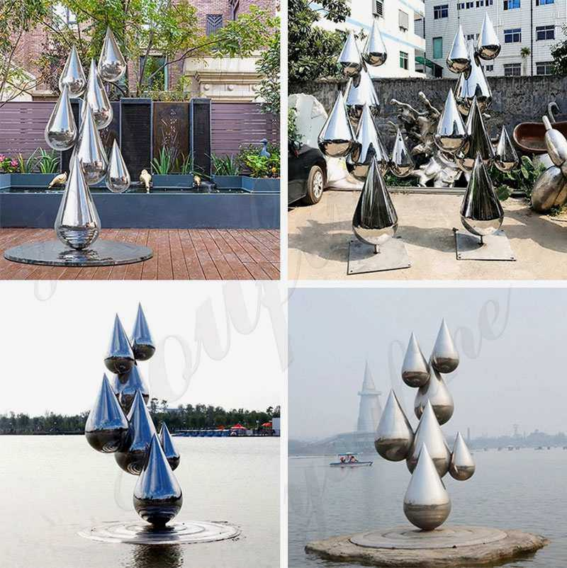 Modern large outdoor stainless steel metal sculpture for outdoor