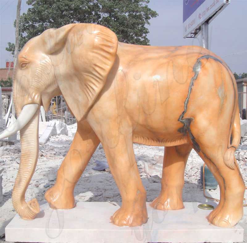 Outdoor Large Size Marble Elephant Statue for Yard Decoration for sale