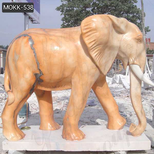 Outdoor Large Size Marble Elephant Statue for Yard Decoration MOKK-538