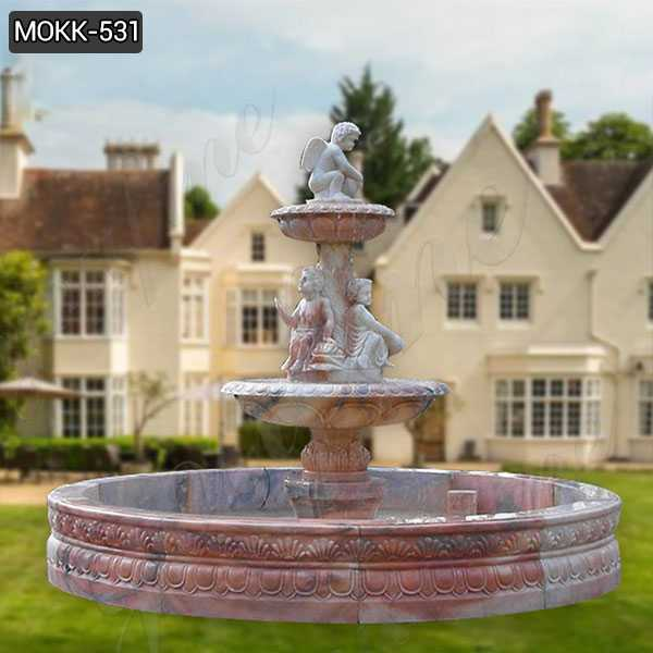 Outdoor Stone Garden Water Fountain Carved with Angel Statues