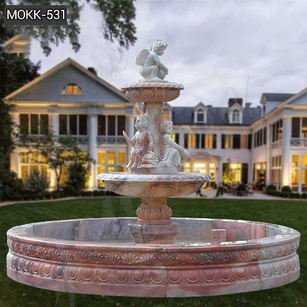 Outdoor Stone Garden Water Fountain Carved with Angel Statue MOKK-531