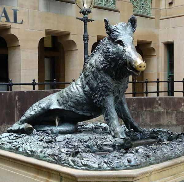 The Bronze Wild Boar Sculpture in Butchart Garden