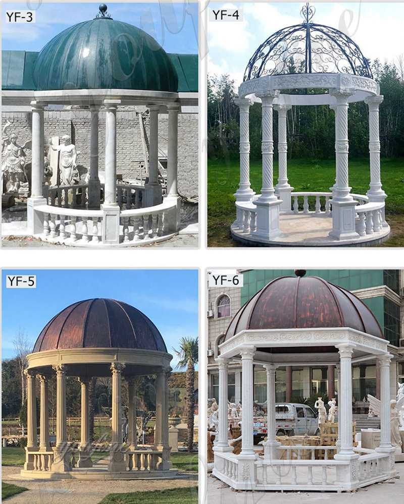 White Marble Gazebo with Iron Dome