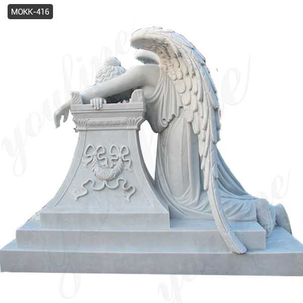 White Marble Monument with Weeping Angel Statue for Cemetery