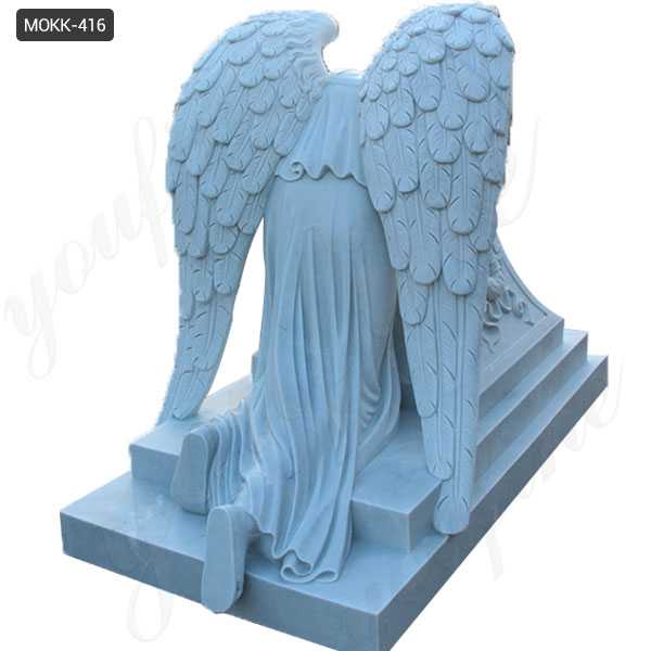 White Marble Monument with Weeping Angel Statue