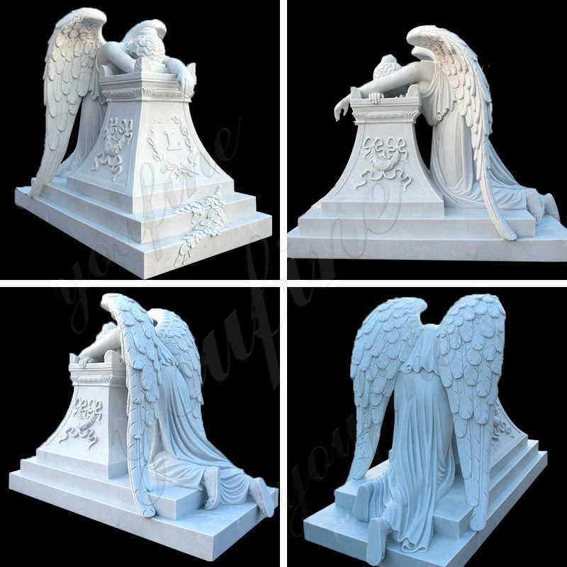 White Marble Monument with Weeping Angel Statues