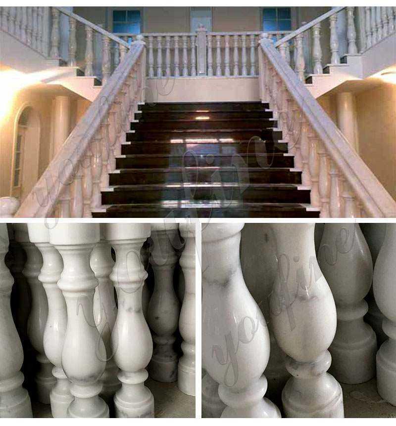 White Marble Stairs Pillar and Railing
