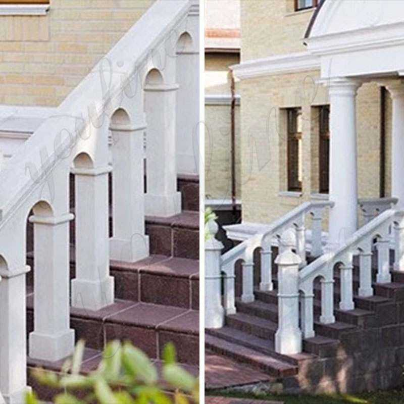 White Marble Stairs Pillars and Railing