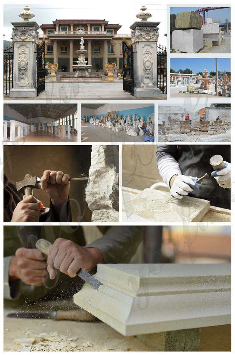 White Marble Stairs Pillars and Railings for sale