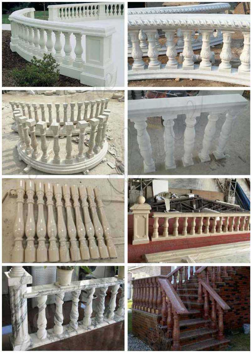 White Marble Stairs Pillars and Railings from Factory Supply for sale
