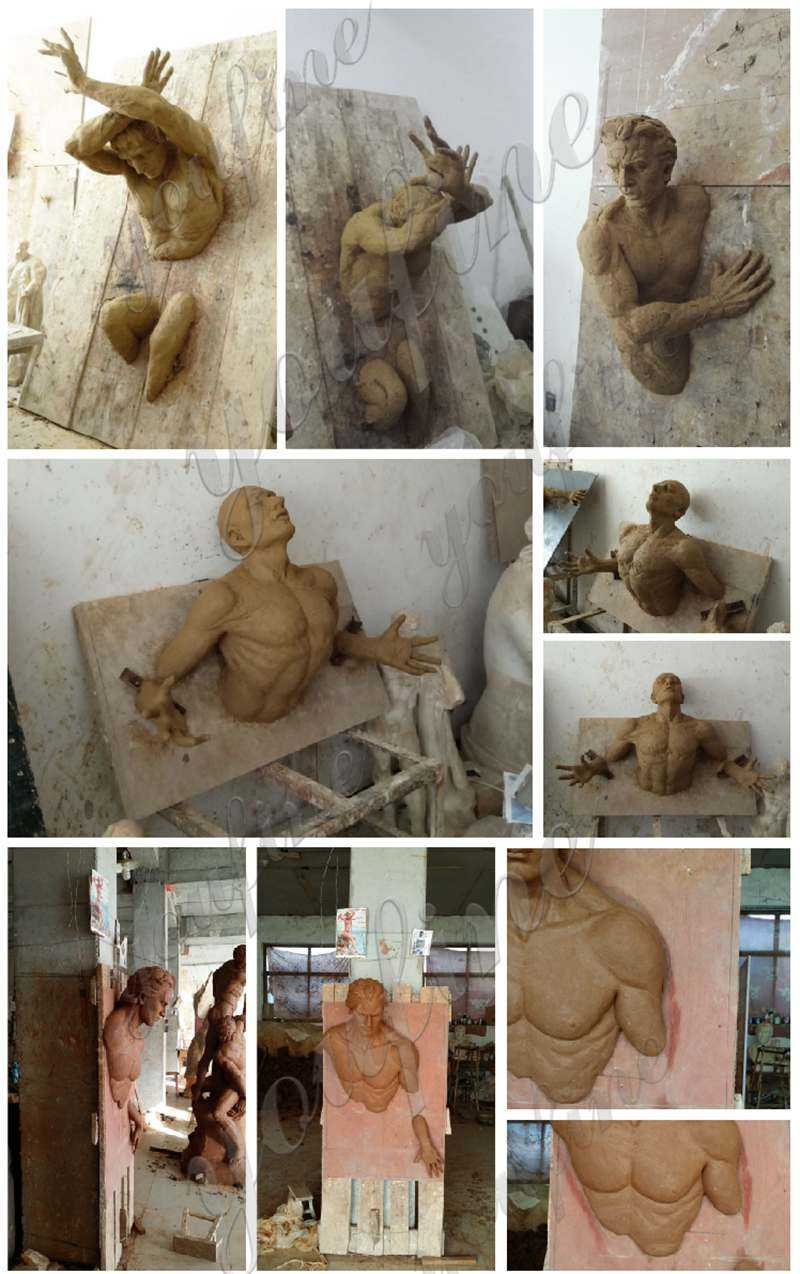clay mold of Bronze Abstract Man Wall Statue Replica