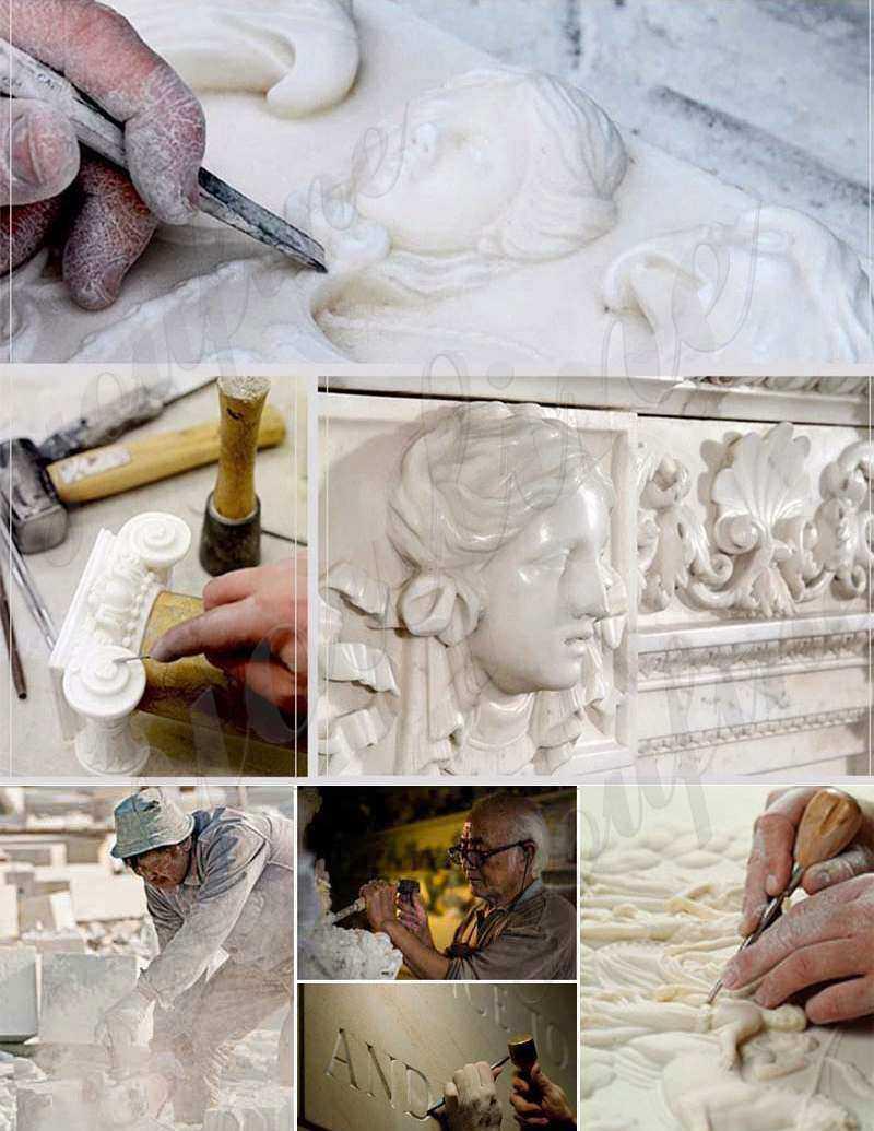 process of Black Granite Memorials Headstone Carving Wepping Angel Statue