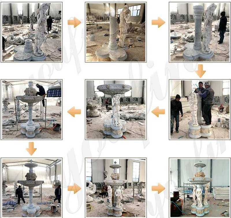 process of Large Outdoor Two Tiered Stone Fountain