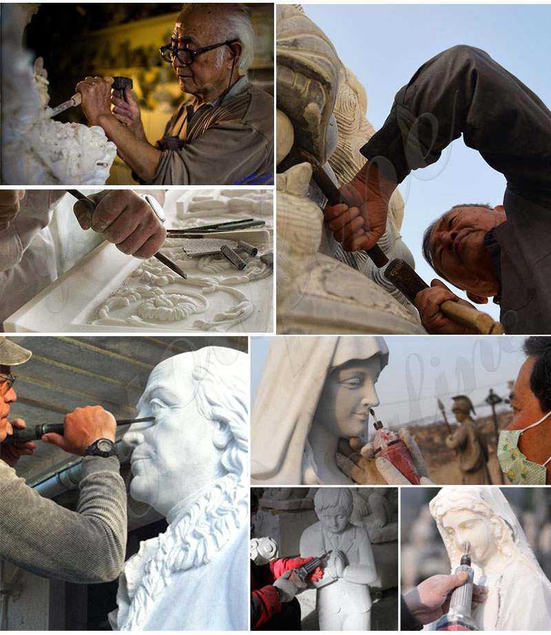 process of White Marble St Joseph Garden Statue