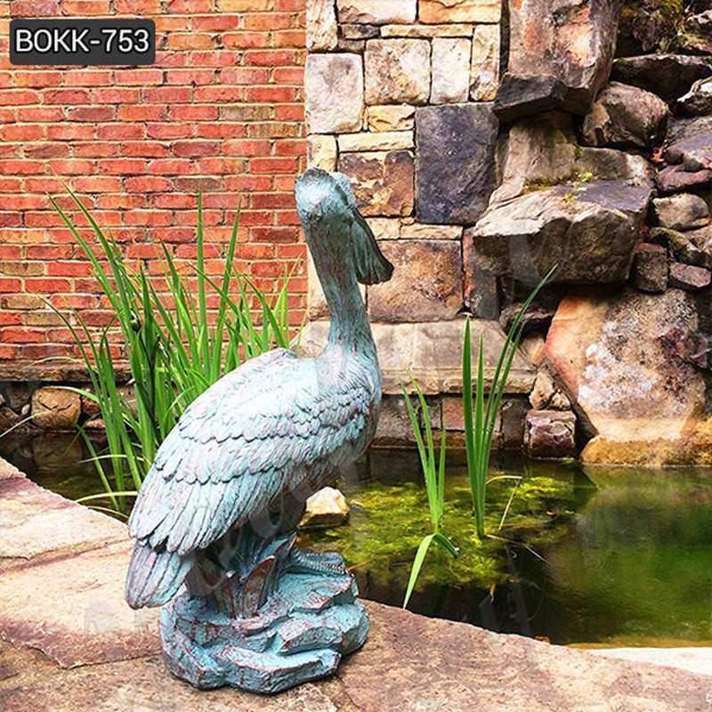 Animal Garden Sculptures Antique Bronze Pelican Statue
