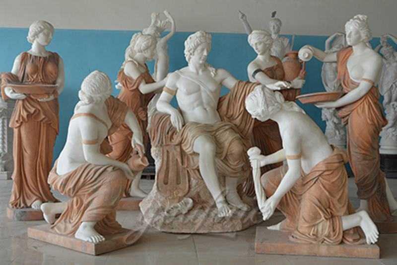 Apollo bathing marble sculpture