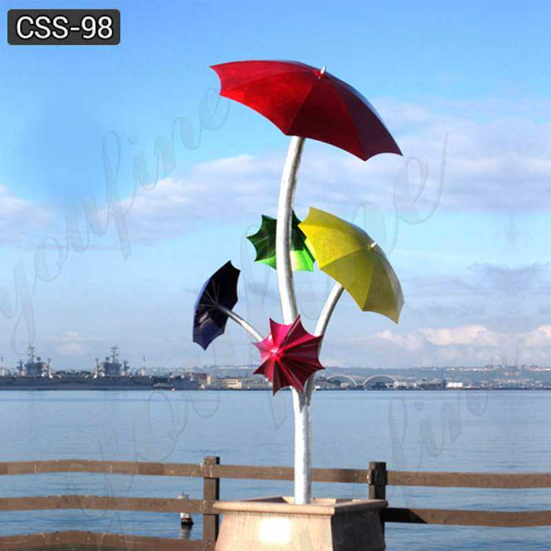 Beautiful Polished Stainless Steel Umbrella Sculptures for Garden Decor