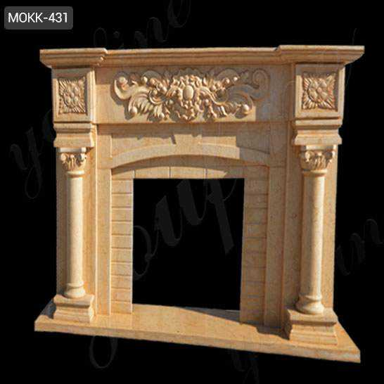 Beige Marble Fireplace Mantel with Colunms from China Factory