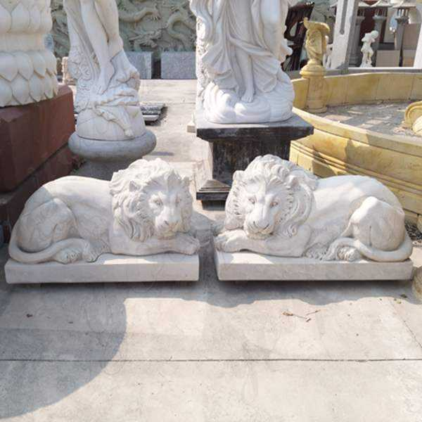 Buy Hand Carved Marble Stone Lion Guardian Staute