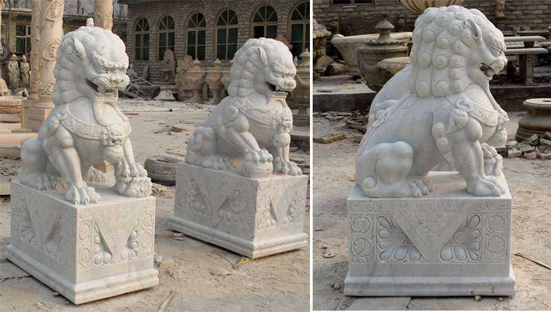 Chinese Foo Dog Marble Statues Garden Ornaments