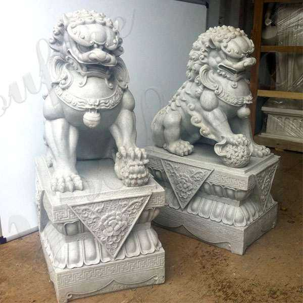 Chinese Foo Dog Marble Statues