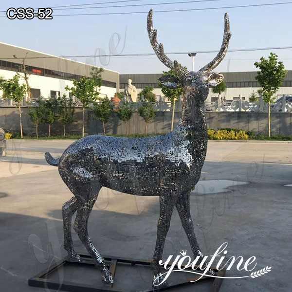 Custom Art Craft Stainless Steel Animal Deer Sculpture for Sale