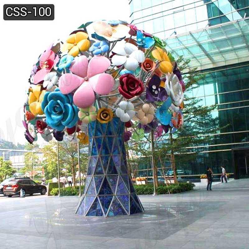 Custom Garden Art Metal Stainless Steel Flowers Sculpture Decor