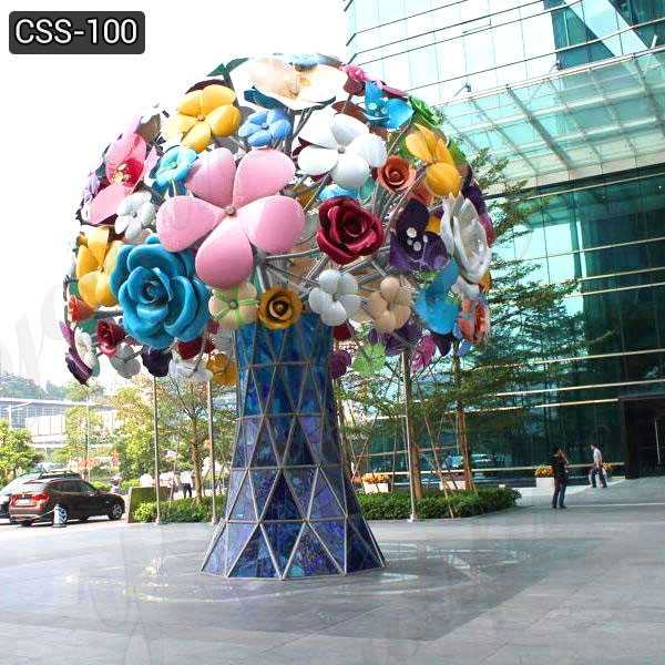 Custom Garden Art Metal Stainless Steel Flowers Sculpture Decor CSS-100
