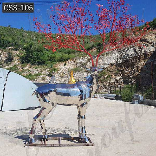 Custom Made Abstract Outdoor Stainless Steel Deer Sculpture for Sale CSS-105