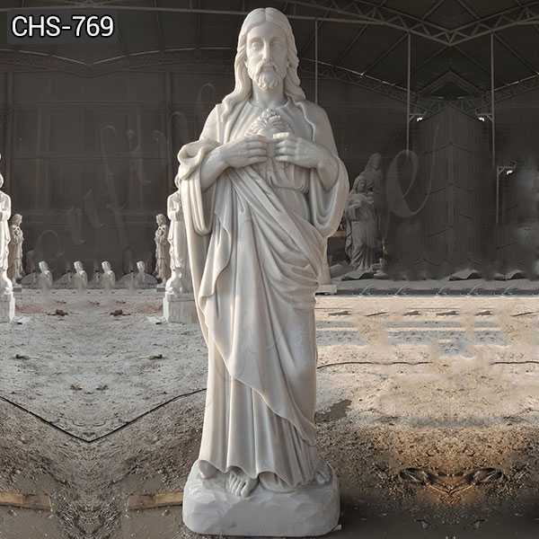 Custom Made Outdoor Marble Sacred Heart Jesus Statue for Sale CHS-769