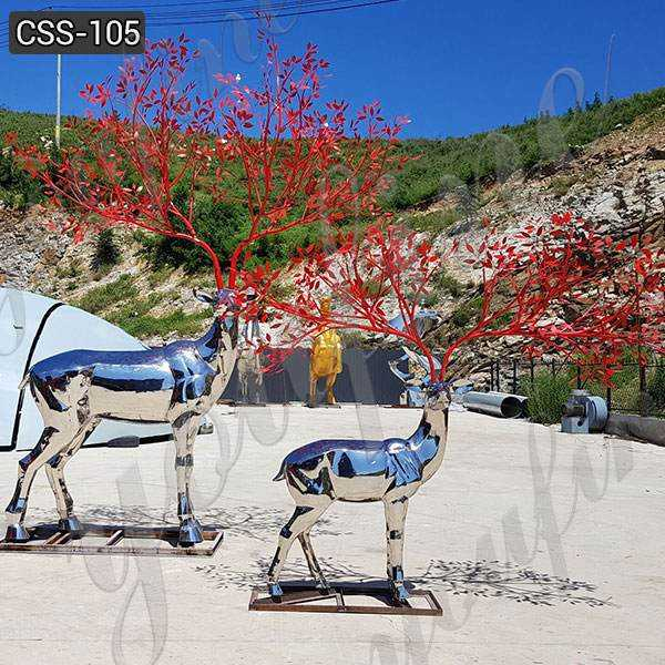 Custom Made Outdoor Stainless Steel Deer Sculpture