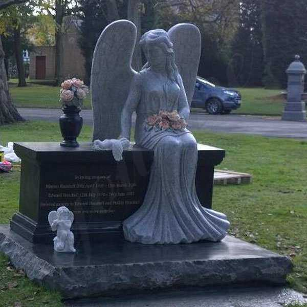 Discount Angel Headstones For Graves Black Large Granite Angel Tombstone Designs For Sale For Baby--MOKK-111