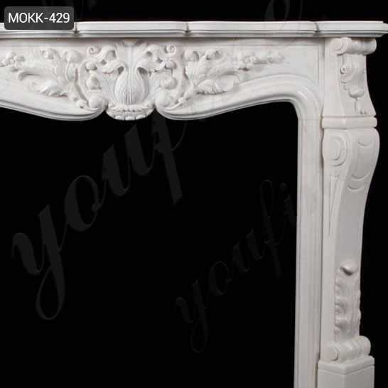 French Design Marble Fireplace Mantel with Floral Pattern